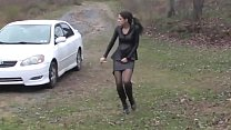 Bursting To Pee In Car, Sexy Girl Relieves Herself Outside Her Houae