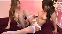 Asian Girl In White Lingerie Rubbing Pussies Getting Her Tits And Pussy Fucked With Strapon By Busty