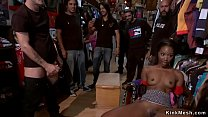 Small tits ebony banged in crowded shop