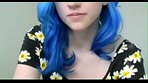 crazyamateurgirls.com - Blue haired girl in flo...