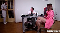 Anal inspectors at the BDSM clinic double penetrate Mina in gagging action - download porn videos