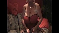 Blonde with monster huge breasts playing with dildo porn image