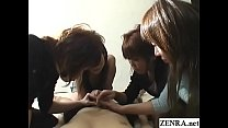 CFNM handjob with cumshot by group of Japanese women thumbnail
