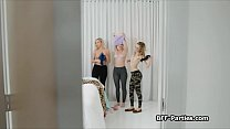 Three Hotties Sharing Pranking Roomies Cock