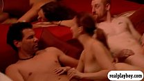 Group of swingers swap partner and orgy in the red room thumbnail