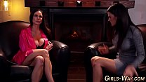 Brunette milf gets oral