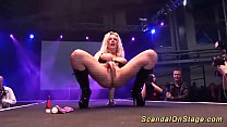blonde big boob german milf toying on public stage