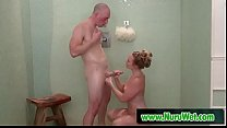 Masseuse AJ Applegate gives soapy handjob in shower to Zac Wild's Thumb