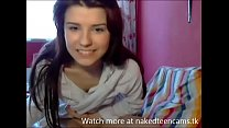 Beautiful cute teen masturbating dildo infront of webcam
