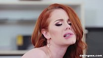 Pale skin redhead fucks like deluxe escort on t...