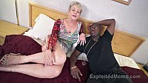 Mature Grandma with Big Tits lets a Black Cock cum Inside her Creampie Video Image
