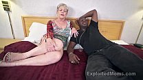 Mature Grandma with Big Tits lets a Black Cock cum Inside her Creampie Video صورة