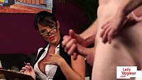 Spex beauty helps naked sub to jerk off
