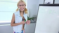 Cameraman shoots a blonde in glasses writing on the white board pornhub video