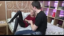 Horny doxy enjoys riding on top of an erected thick pecker