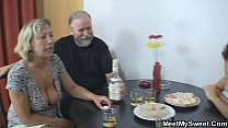 Czech blonde involved into family threesome video