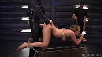 Blonde slave rough banged in threesome