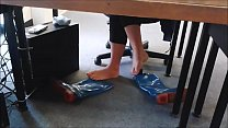 Cams4free.net - Candid Boots and Socks Off In Library