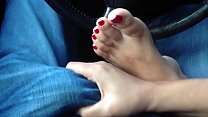 Foot Fetish! Gorgeous Asian playing with my coc... Thumbnail