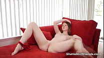 Hot girl is on a sofa craving a cock