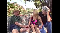 Outdoor Threesome For Blonde Swinger Wife's Thumb