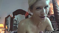 Busty milf gives a dirty blowjob in the bed Preview