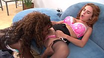 White redhaired cutie Ashlee Graham  gets her twat licked and fucked by black girl Tristina Millz