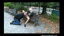 Nymph rides boner on park bench