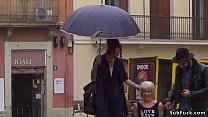 Petite Spanish slave disgraced in the rain