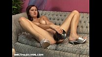 Brunette Suzanne filling her pussy with a brutal dildo • sexxnxx thumbnail
