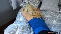 Hot ass blonde teen railed by pervert stepdad on the couch