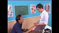 Horny teacher fucks his student's taut arse hard and deep