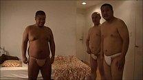 三人のポッチャリホモ親父が褌をしめ男の体を味わいつくす![フンドシ