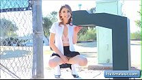 14949 Sexy naughty schoolgirl Kristen finger fuck her juicy pink pussy outdoor on a bench preview