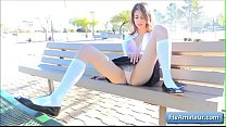Sexy naughty schoolgirl Kristen finger fuck her juicy pink pussy outdoor on a bench preview image