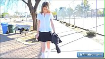 Sexy naughty schoolgirl Kristen finger fuck her juicy pink pussy outdoor on a bench thumbnail