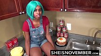 Ebony Step Sister Msnovember Is Fucked In Kitchen Hardcore Bro Sex & Blowjob POV thumbnail
