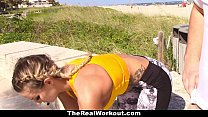 TheRealWorkout - Busty Blonde Rides Trainer After The Beach Session Preview