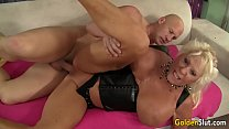 Floppy Titted Grandma Mandi McGraw Fucks a Bald Guy Until He Pops in Her Mouth preview image