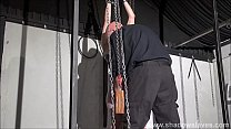 Wooden horse bondage and screaming sex toys orgasm of tied amateur slave Honesty Calliaro in hardcore BDSM session image