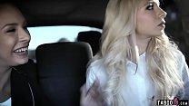 Uber driver fucks two blonde teen sluts who needed cash Image