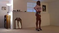 Tanned Blonde Crossdresser in Cheeky Short Shorts