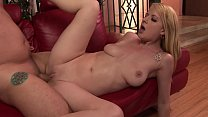 Check out how blonde babe moans with each thrust of his huge schlong