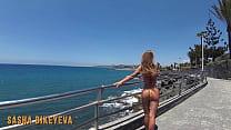 PISS PISS TRAVEL - Russian Girl in a micro bikini pees in public on Gran Canaria