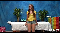 Lascivious legal age teenager gets fucked hard by massage therapist