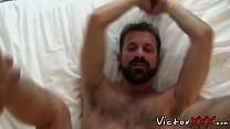 Gay cocksucker cum sprayed after vigorous bareback