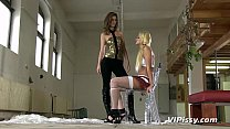 Teen Sex Slave Enjoys A Golden Shower And Doggystyle Bang In Threesome.