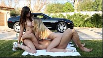 FantasyHD Two girls do sex car wash orgy Thumbnail