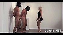 Mistresse kicks villein in balls
