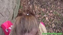 Pulled young euro babe outdoor creampied thumbnail